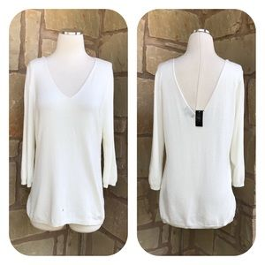 The Limited Ivory Double V-Neck Lighweight Sweater